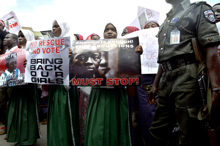 Children take part in a rally calling for the release of the missing Chibok school girls in Lagos, Nigeria, on May 5, 2014.