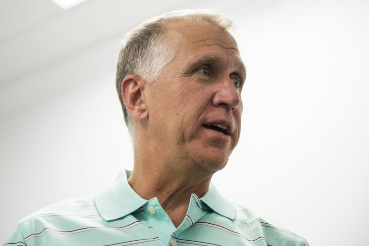 NC Speaker of The House and GOP Senate candidate Thom Tillis, R-NC, speaks with volunteers at the Tillis for US Senate Campaign Headquarters in Cornelius, N.C., May 4, 2014.