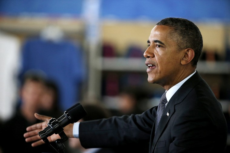 President Barack Obama speaks at a Walmart store on May 9, 2014 in Mountain View, Calif.