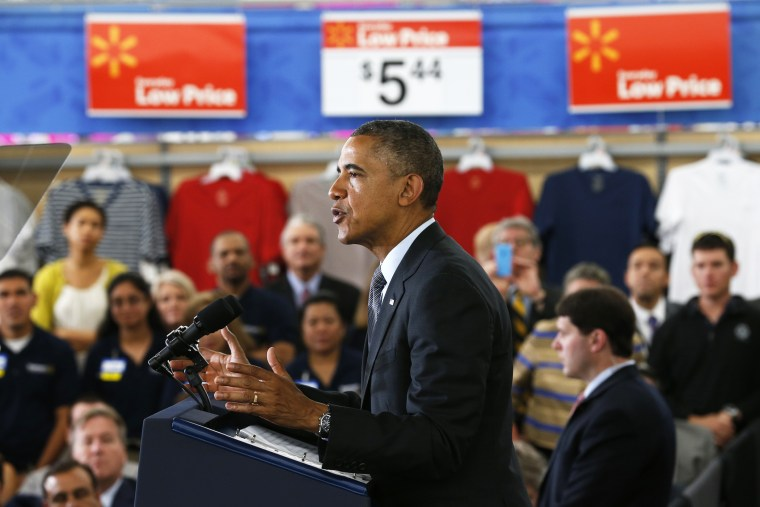 U.S. President Barack Obama speaks about energy during a visit to a Wal-Mart store in Mountain View, Calif. May 9, 2014.