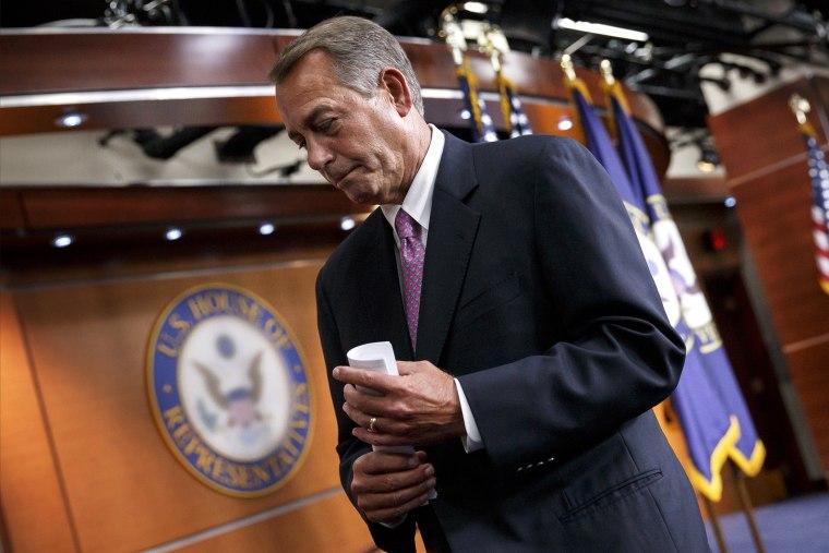 House Speaker John Boehner of Ohio wraps up a news conference on his legislative agenda, March 26, 2014, in Washington, D.C.