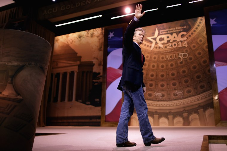 Sen. Rand Paul (R-Ky.) walks off the stage after addressing the Conservative Political Action Conference, March 7, 2014 in National Harbor, Md.