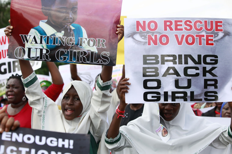 Women attend a demonstration calling on government to rescue kidnapped school girls of a government secondary school Chibok, in Lagos, Nigeria, May. 5, 2014.