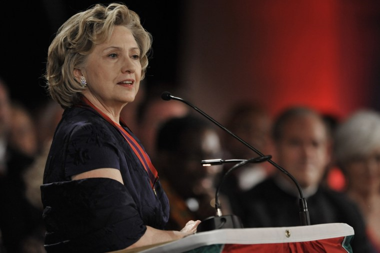 Hillary Clinton speaks after receiving the Order of Lincoln Award at the Field Museum in Chicago, Ill., May 3, 2014.