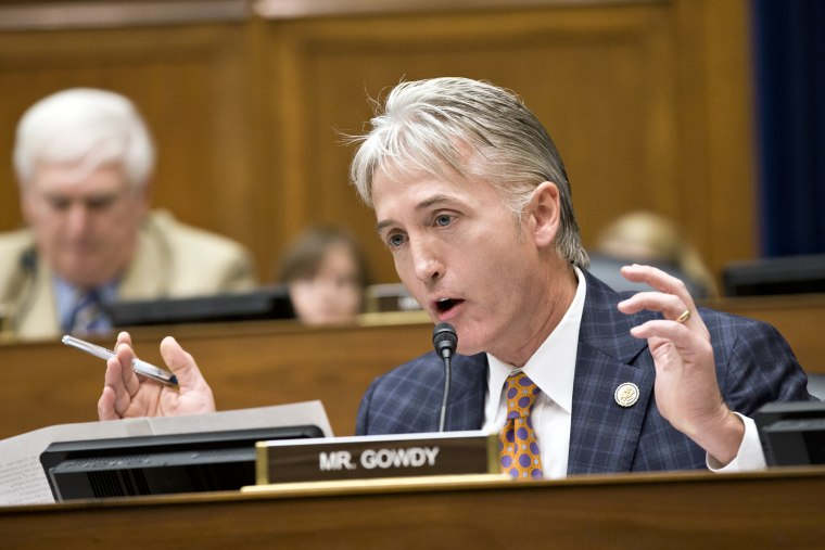 Rep. Trey Gowdy, R-SC, argues a point during a meeting on Capitol Hill, June 28, 2013, in Washington, D.C.
