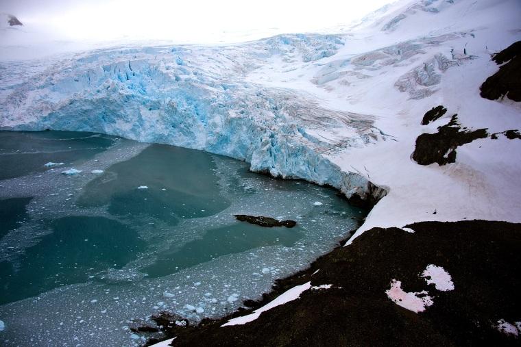 View of a glacier in front of Brazil's Comandante Ferraz base, in Antarctica on March 10, 2014.