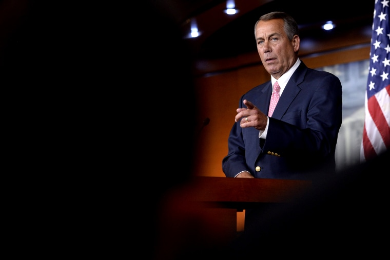 Speaker of the House John Boehner (R-OH) takes a question during a news conference on Capitol Hill in Washington DC on Feb. 27, 2014.