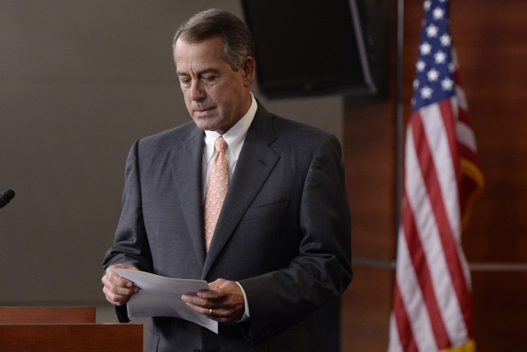 US Speaker of the House and John Boehner (R-OH) speaks on Capitol Hill in Washington DC on May 8, 2014.