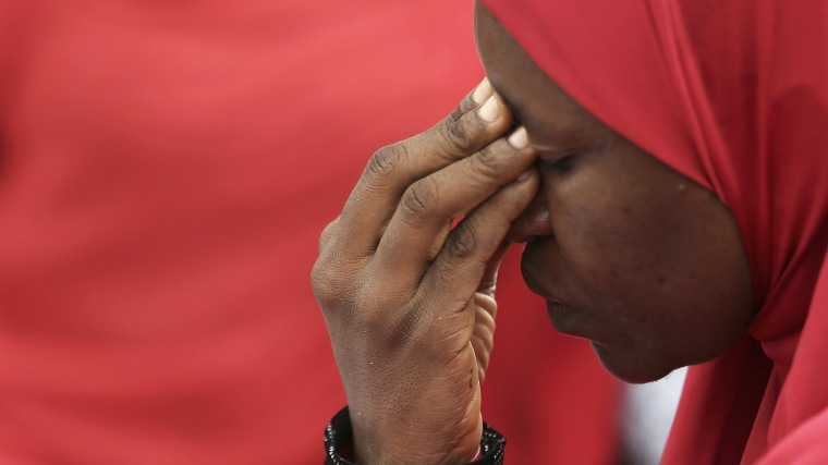 A woman takes part in a protest for the release of the abducted secondary school girls in the remote village of Chibok, during a sit-in protest at the Unity fountain Abuja, Nigeria on May 12, 2014.