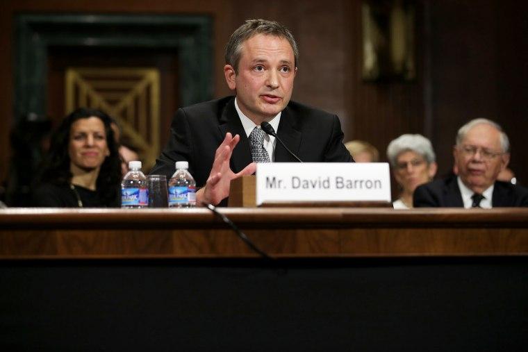 David Barron testifies before the Senate Judicary Committee during his nomination hearing, Nov. 20, 2013 in Washington, DC.