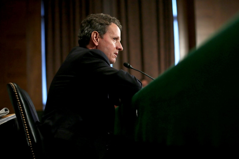 Timothy Geithner testifies during a hearing on Capitol Hill in Washington, DC.