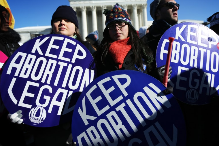 Pro-choice activists hold signs in front of the U.S. Supreme Court January 22, 2014.