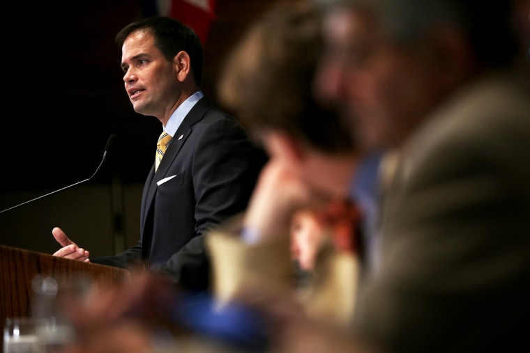 U.S. Sen. Marco Rubio speaks during a National Press Club Newsmaker Luncheon May 13, 2014 in Washington, DC.