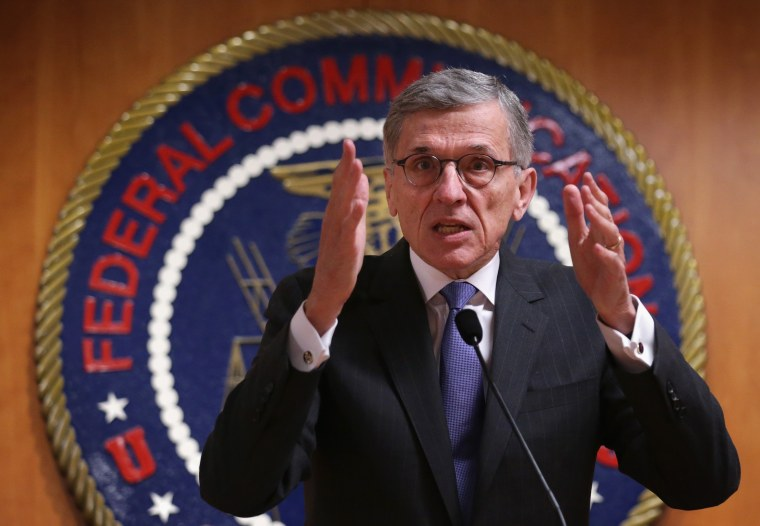 Federal Communications Commission (FCC) Chairman Tom Wheeler speaks during a news conference on May 15, 2014 at the FCC headquarters in Washington, DC.