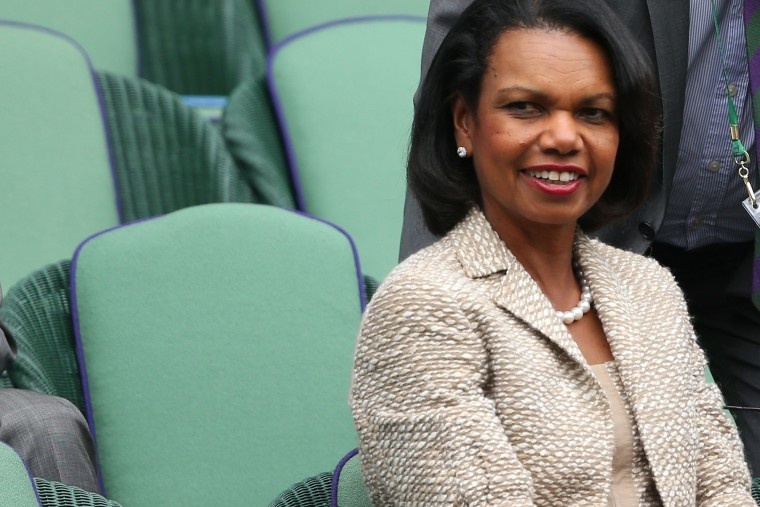 Condoleezza Rice watches the gentlemen's singles match on day one of the Wimbledon Lawn Tennis Championships on June 24, 2013 in London, England.