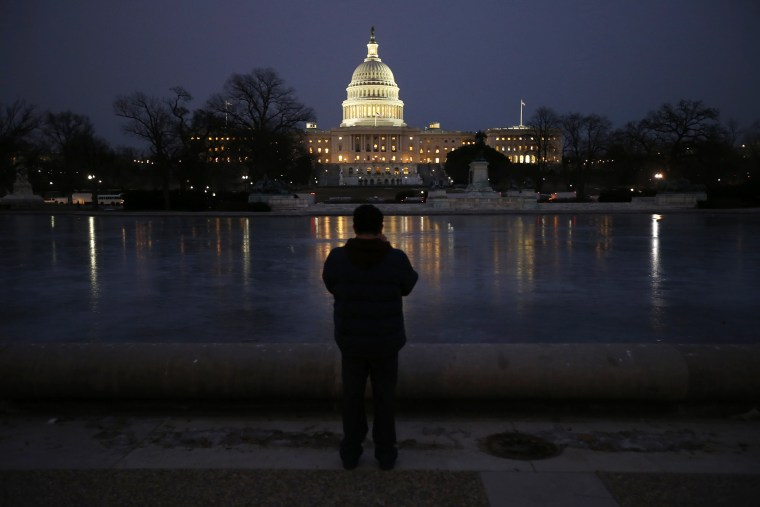The U.S. Capitol building is seen before U.S. President Barack Obama delivers his State of the Union address in front of the U.S. Congress, on Capitol Hill in Washington on Jan. 28, 2014.