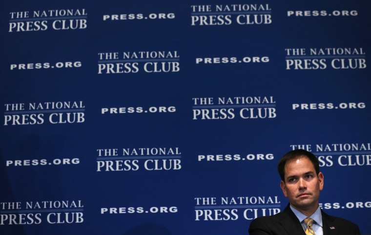 Sen. Marco Rubio (R-FL) during a National Press Club Newsmaker Luncheon May 13, 2014 in Washington, D.C.