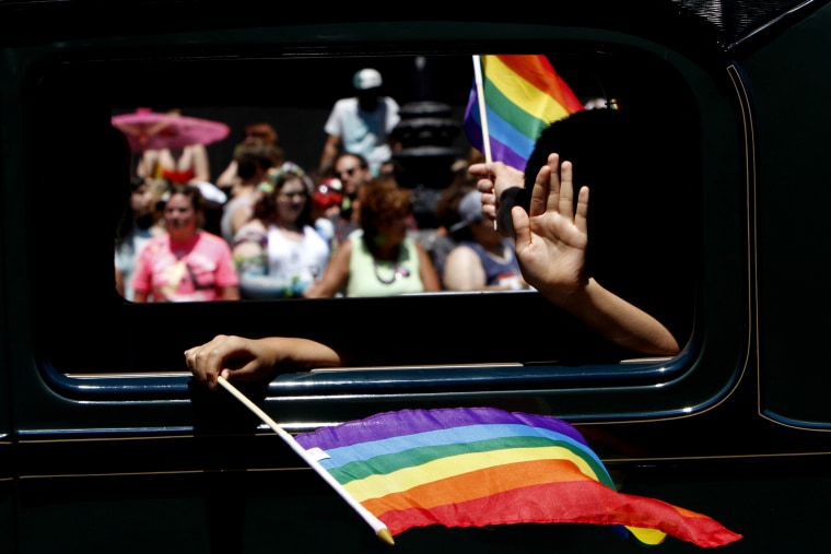 A passenger is seen at an LGBT Pride Celebration & Parade June 30, 2013.