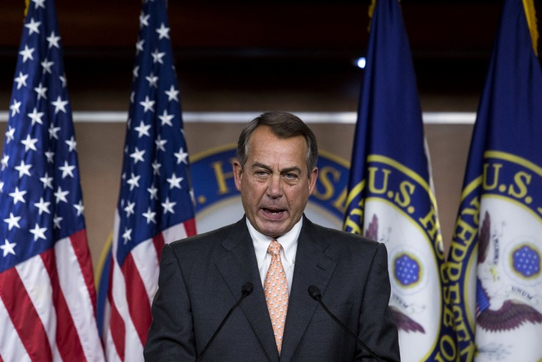 John Boehner (R-OH) answers questions during his weekly news conference on Capitol Hill, May 8, 2014 in Washington, DC.