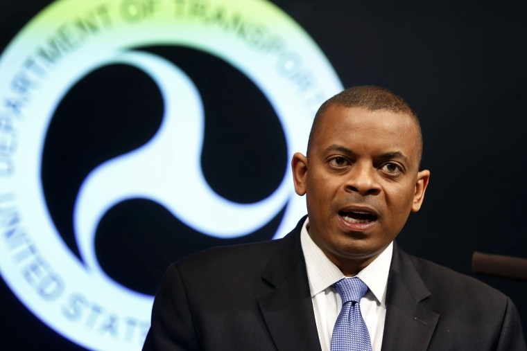 U.S. Transportation Secretary Anthony Foxx announces that General Motors will be fined a record $35 million in civil penalties as a result of the automakers failure to report a safety defect in one of its automobiles, May 16, 2014, in Washington, D.C.