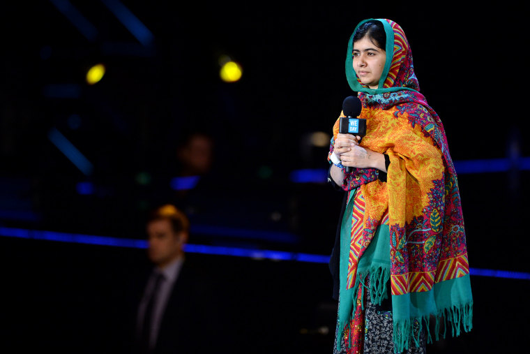 Malala Yousafzai onstage at a charity event, March 7, 2014, in London, England.