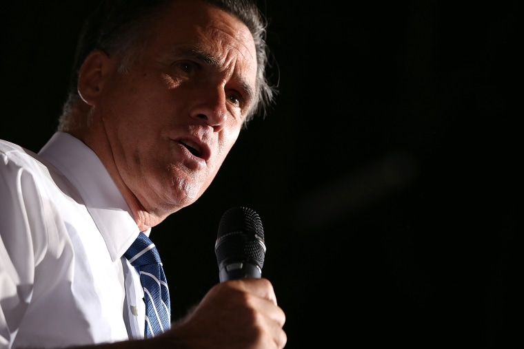 Former Republican presidential candidate and Massachusetts Gov. Mitt Romney speaks during a campaign rally, Oct. 1, 2012 in Denver, Colo.