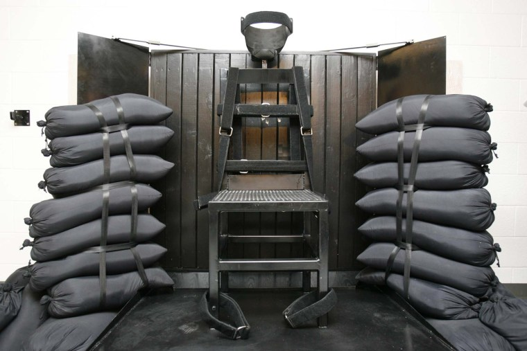 In this June 18, 2010, file photo, the firing squad execution chamber at the Utah State Prison in Draper, Utah, is shown.