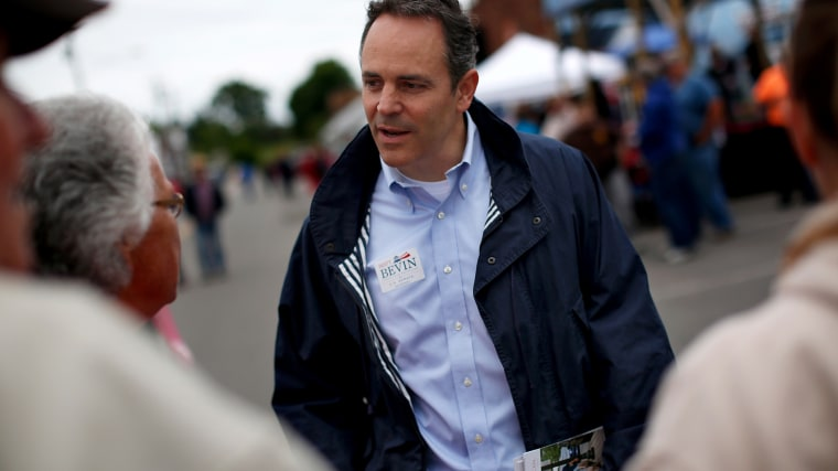 Kentucky Republican senatorial candidate Matt Bevin talks with voters at the Fountain Run BBQ Festival while campaigning for the Republican primary May 17, 2014 in Fountain Run, Ky.