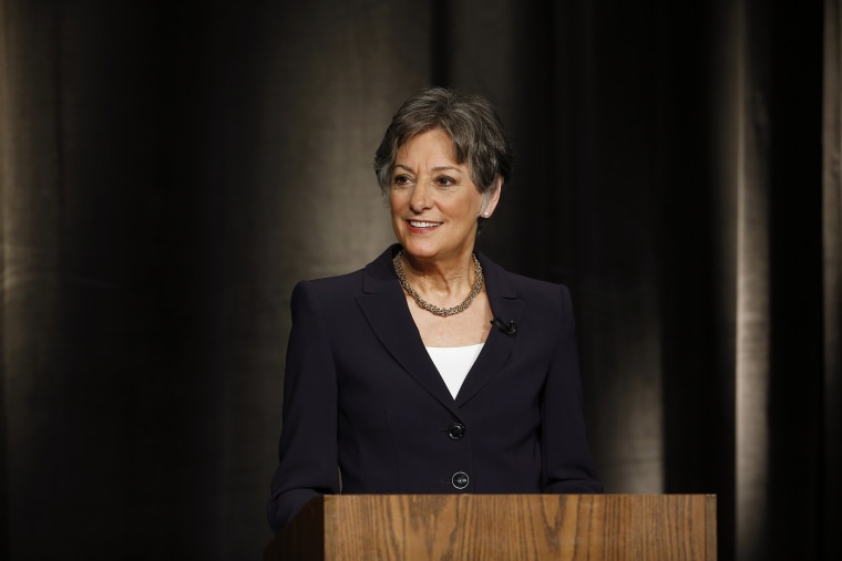 U.S. Rep. Allyson Schwartz waits for the start of a Pennsylvania Democratic Gubernatorial Primary Debate, May 8, 2014, in Philadelphia, Pa.