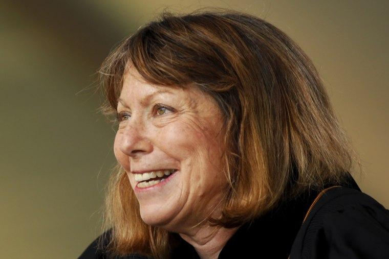 Jill Abramson, former executive editor at the New York Times speaks during commencement ceremonies for Wake Forest University on May 19, 2014 in Winston Salem, N.C.