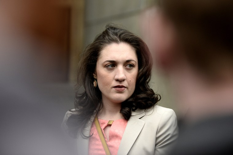 Cecily McMillan arrives at Manhattan Criminal Court, April 7, 2014, in New York, N.Y.