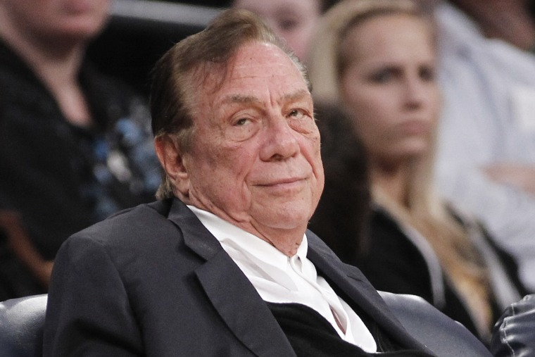 Los Angeles Clippers owner Donald Sterling watches the Clippers play the Los Angeles Lakers during an NBA preseason basketball game in Los Angeles on Dec. 19, 2011.