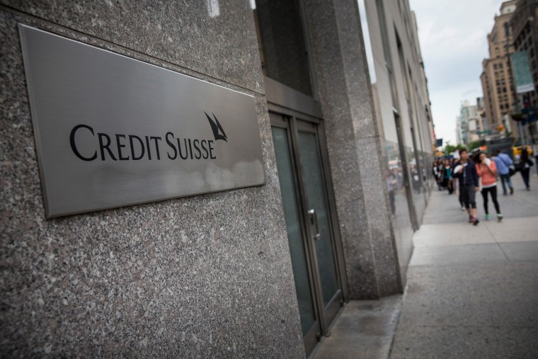 The New York offices of Credit Suisse are shown on Madison Avenue on May 19, 2014 in New York City.
