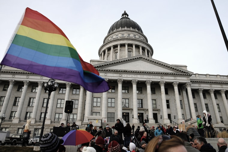 Supporters hold a pro-gay marriage rally outside the Utah State Capitol on Jan. 28, 2014 in Salt Lake City, Utah.