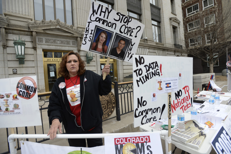 Opponents of Common Core educational standards were at the Colorado State Capitol in Denver to voice their opposition to the program
