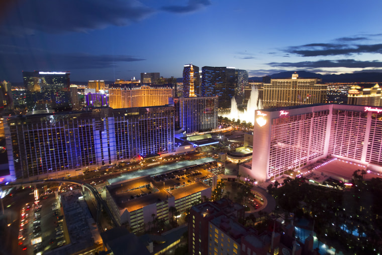 Las Vegas Strip casinos are seen from the 550 foot-tall (167.6 m) High Roller observation wheel, the tallest in the world, in Las Vegas