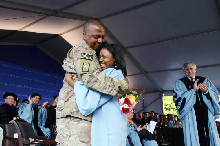U.S. Army Cpt. Keith Robinson and his daughter, Ruby Robinson, at Ruby's graduation from Columbia University on May 19, 2014.