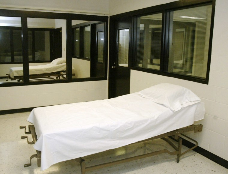In this April 12, 2005 file photo is the death chamber at the Missouri Correctional Center in Bonne Terre, Mo. The Associated Press and four other news organizations filed a lawsuit May 15, 2014 challenging the secret way in which Missouri obtains the drugs it uses in lethal injections, arguing the state's actions prohibit public oversight of the death penalty.