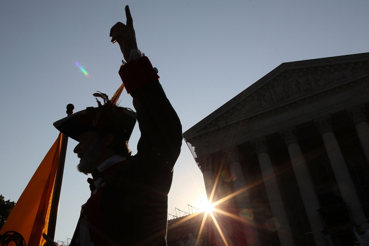 Tea Party activist William Temple, protests in front of he U.S. Supreme Court, on June 28, 2012 in Washington, DC.