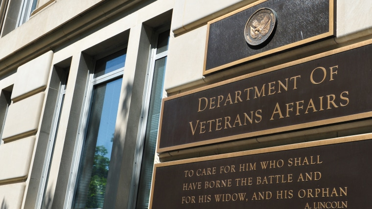 This May 19, 2014 photo shows a  a sign in front of the Veterans Affairs building in Washington, DC.
