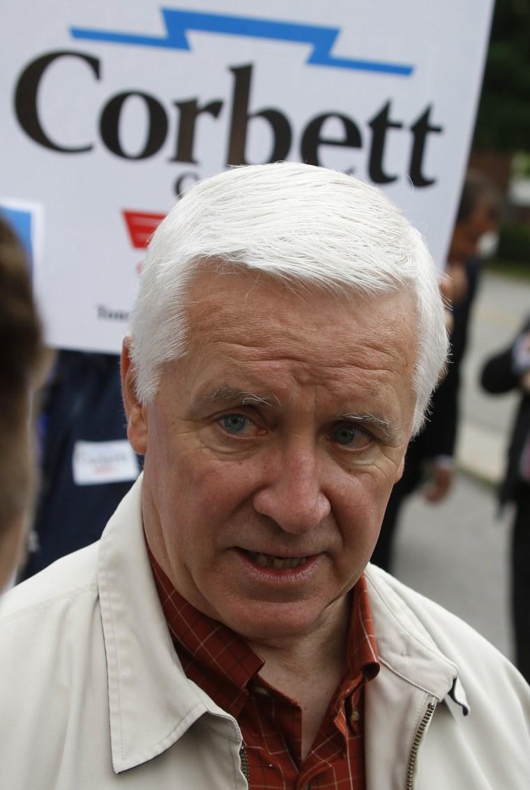 Pennsylvania Gov. Tom Corbett after voting in the Pennsylvania  primary election on Tuesday, May 20, 2014 in the Pittsburgh suburb of Shaler Towhnship, Pa.