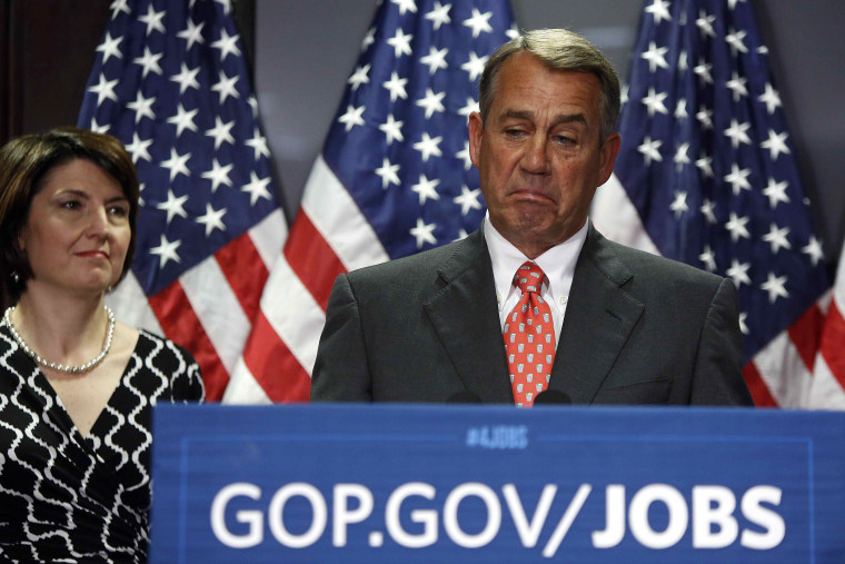 House Speaker John Boehner (R-OH) during a news conference after a Republican Party caucus meeting on Capitol Hill in Washington May 20, 2014.