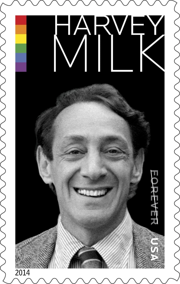 Image: The Harvey Milk Forever Stamp is pictured in this undated handout photograph