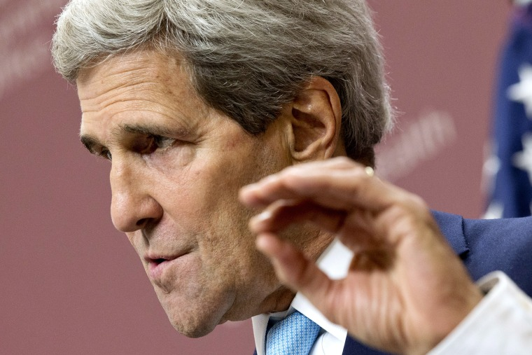 """U.S. Secretary of State Kerry speaks during a news conference after the \""""Friends of Syria\"""" meeting in London"""