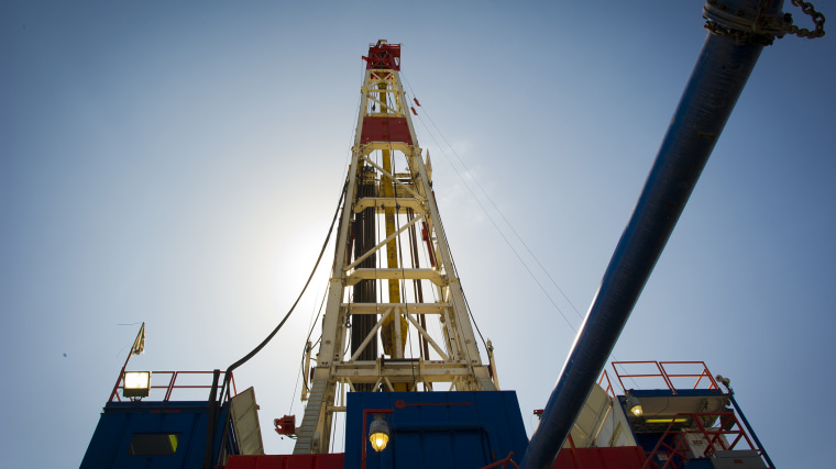 A horizontal gas drilling rig explores the Marcellus Shale outside the town of Waynesburg, PA on April 13, 2012.