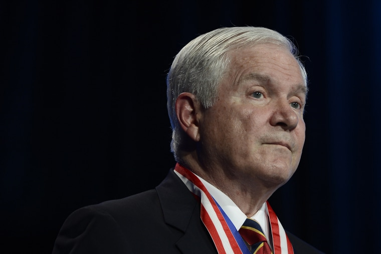 Former Defense Secretary Robert Gates addresses the Boy Scouts of America's annual meeting, May 23, 2014, in Nashville, Tenn., after being selected as the organization's new president.