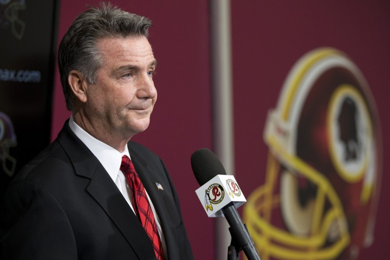 Washington Redskins Executive Vice President and General Manager Bruce Allen listens to a question during a news conference, Dec. 30, 2013, in Ashburn, Va.