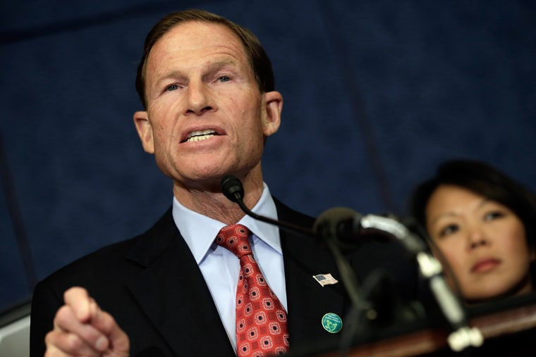 Sen. Richard Blumenthal (D-CT) speaks during a press conference at the U.S. Capitol Sept. 18, 2013 in Washington, DC.
