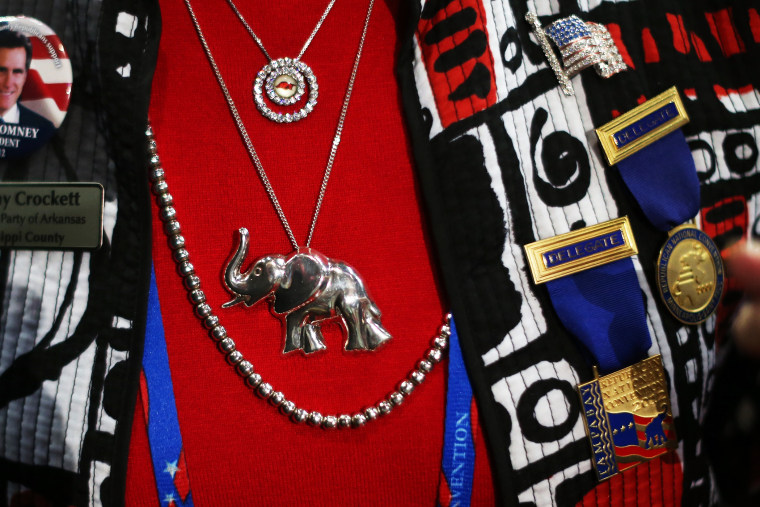 An Arkansas woman wears various political items before the start of the Republican National Convention, August 27, 2012.