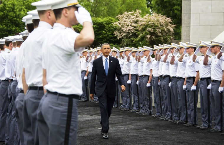 US President Barack Obama arrives at the United States Military Academy at West Point, New York to deliver the commencement address to the 2014 graduating class, May 28, 2014.
